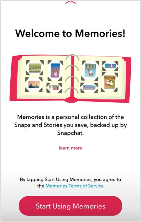 Memories screen