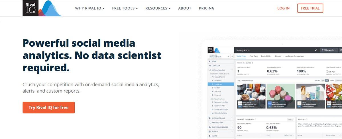 Social media analytics tool - Rival IQ