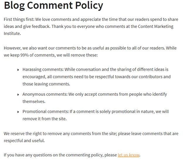 Blog comment policy