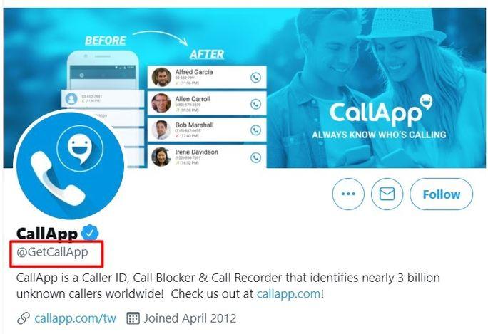 Call-App-Twitter-handle