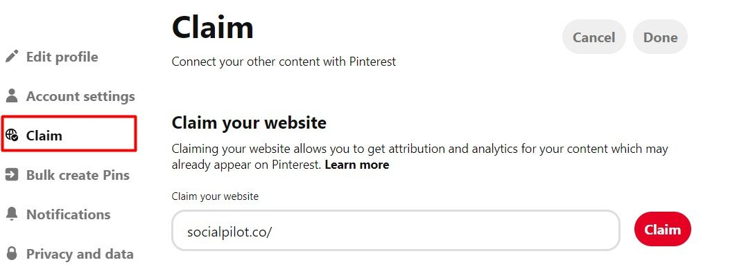 Claim your website on Pinterest option