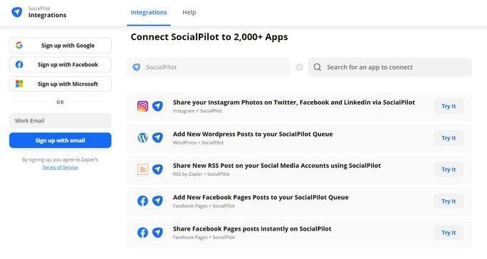 Connect SocialPilot to 2,000 apps