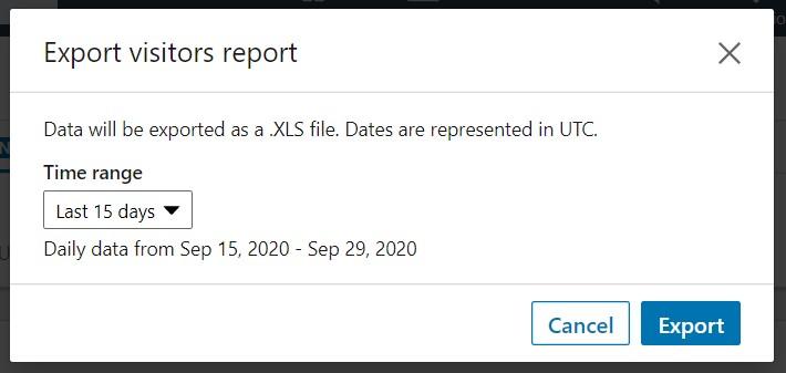 LinkedIn analytics report export page