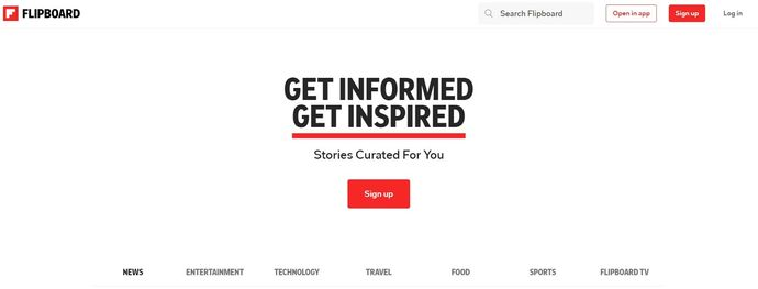 Content curation tool - Flipboard