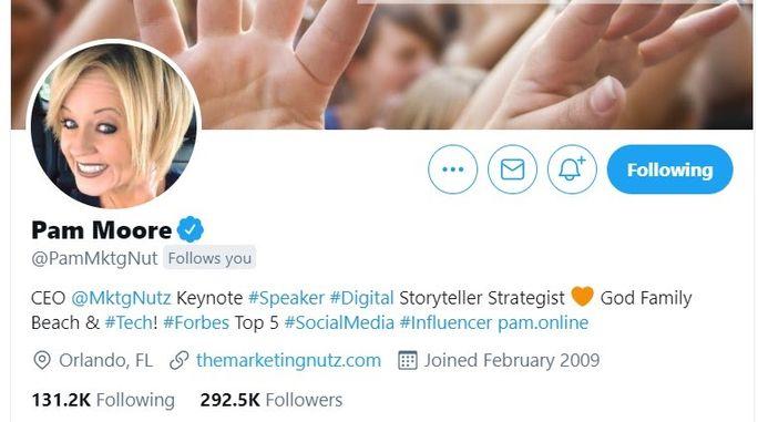 Pam Moore - Twitter bio