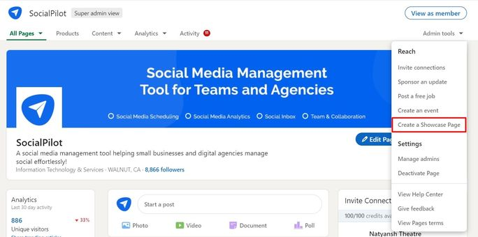 Create Linkedin showcase page
