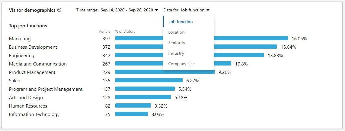LinkedIN visitor demographics