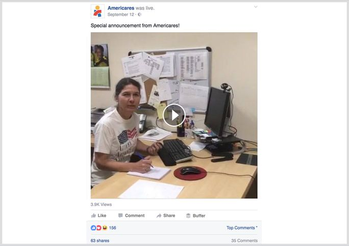 Announcement via Facebook live video