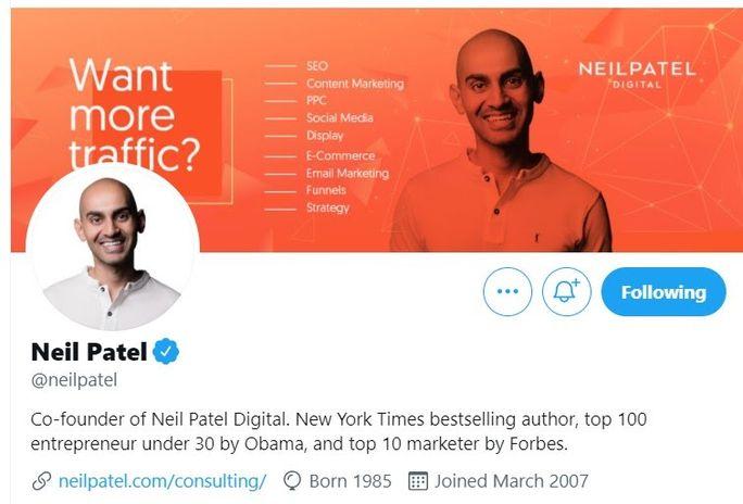 Neil-Patels-Twitter-bio