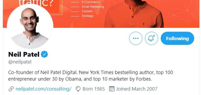 Neil Patel - Twitter bio