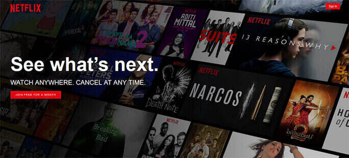 Netflix uses a clear call to action