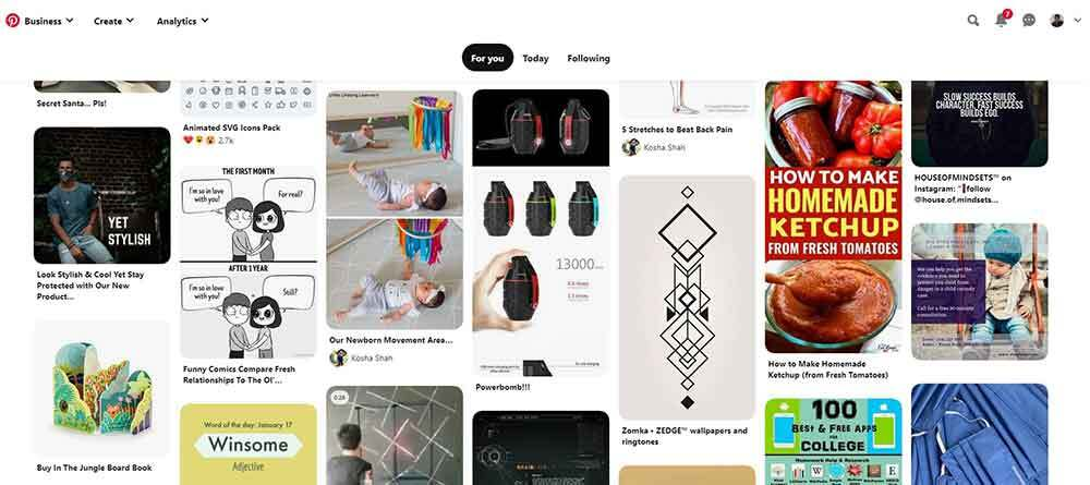 Pinterest Pins home feed