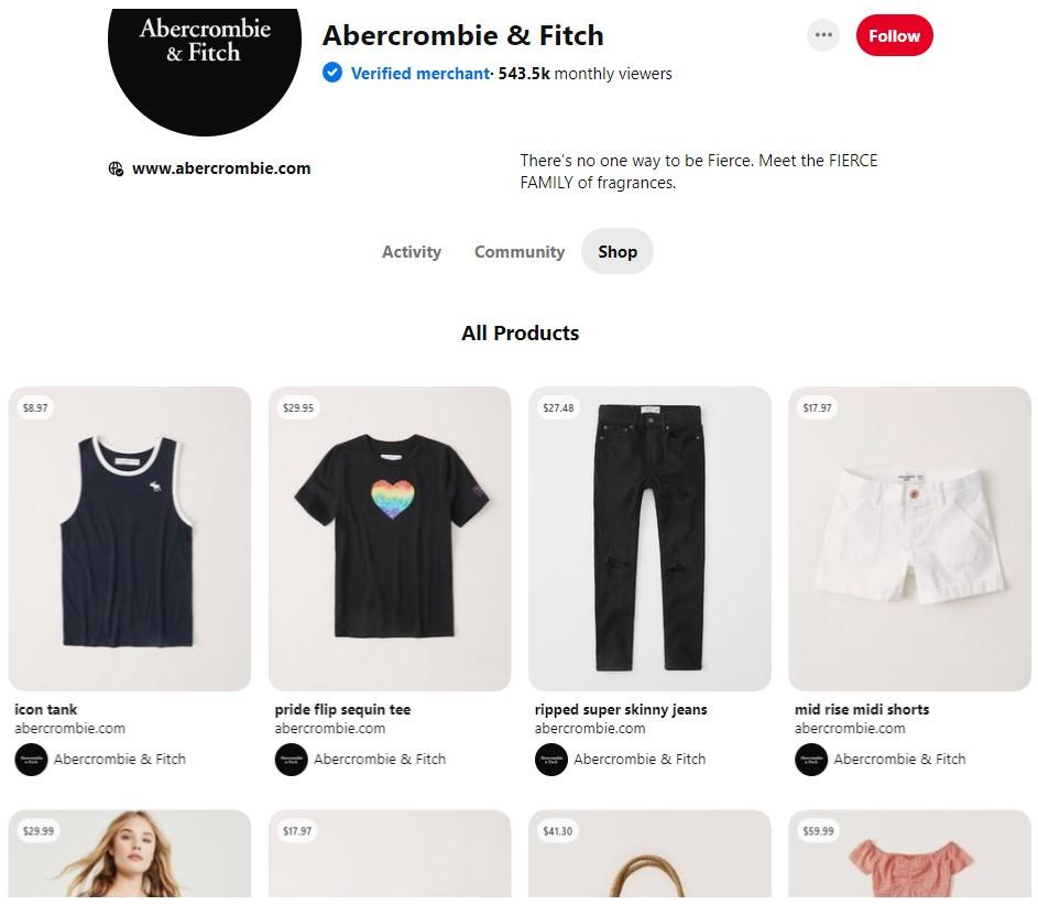 Pinterest Shop Tab