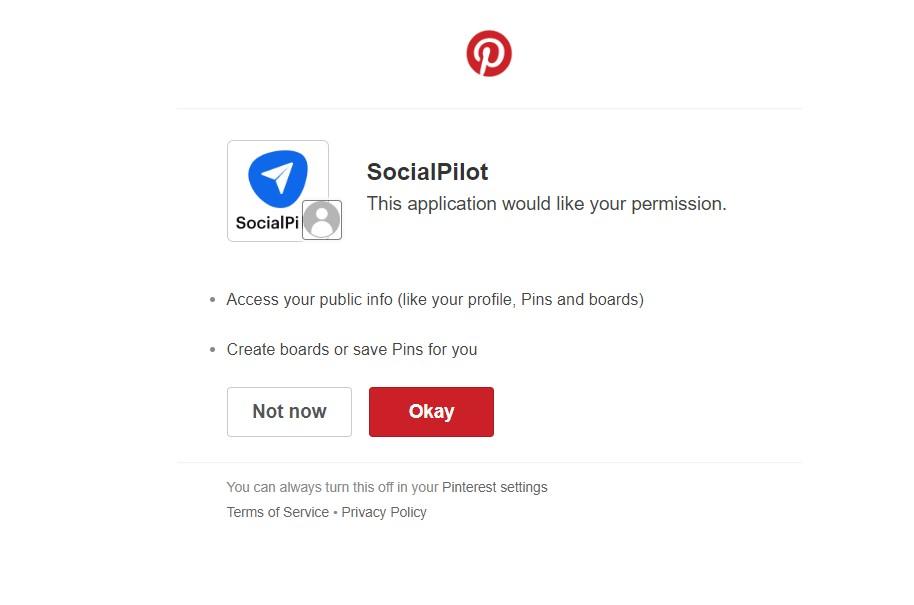 Pinterest authorization window for SocialPilot