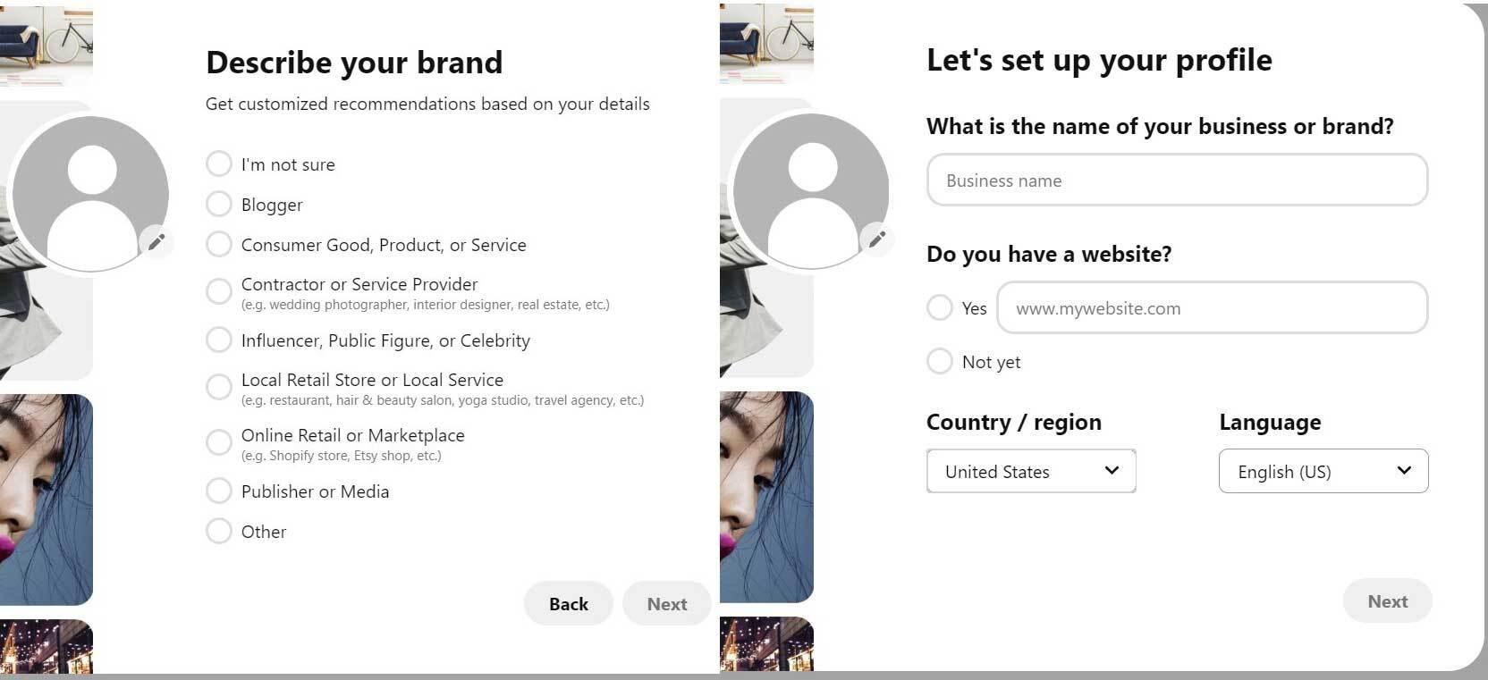 Pinterest describe your brand window
