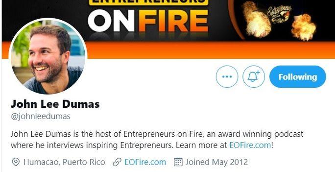 John Lee Dumas - Twitter bio
