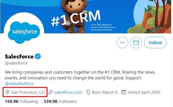 Salesforce - Twitter Bio