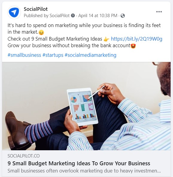 Social media call to action example