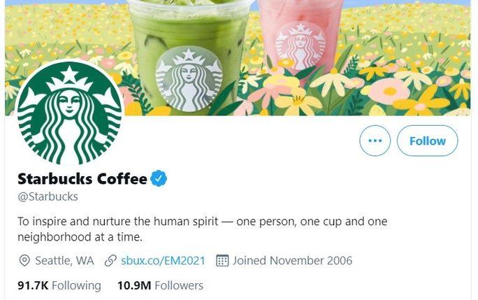 Starbucks - Twitter bio