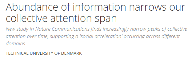 Reducing attention span due to excessive information