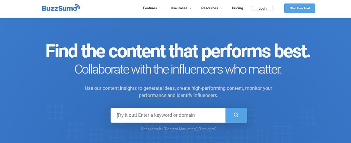 Social media tool - BuzzSumo