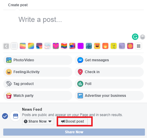 Boost while creating a post