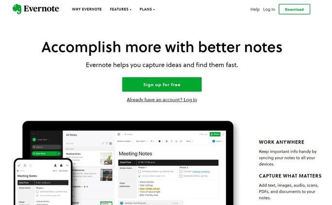 Social media calendar tool - Evernote