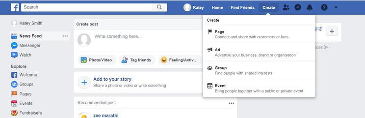 Facebook Create Button