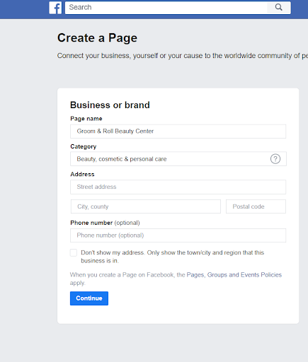 Facebook Create Page Business or Brand Category Page