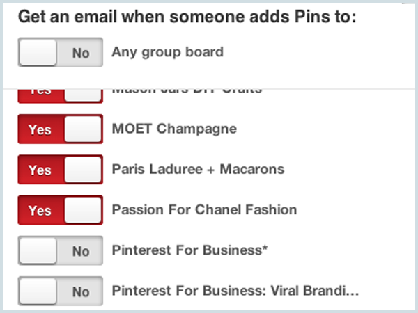 Group board settings