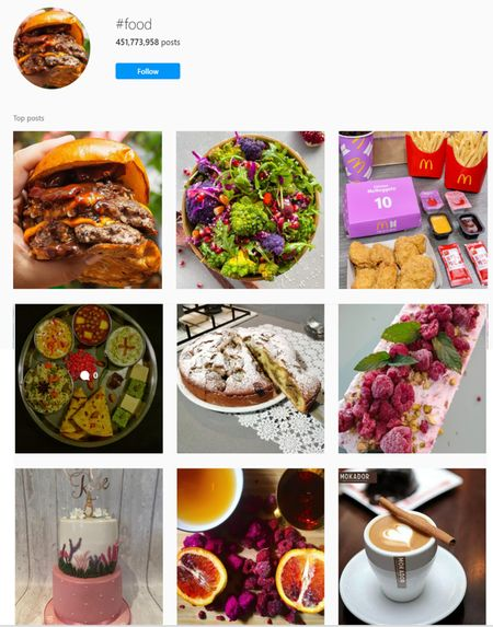 food hashtags for Instagram