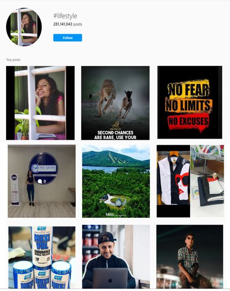 Lifestyle hashtags for Instagram