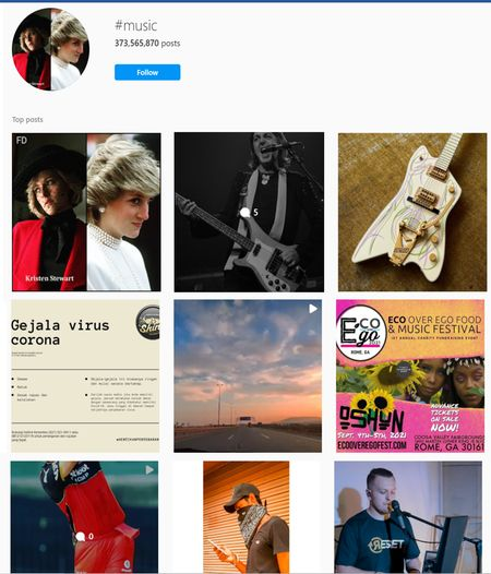Music hashtags for Instagram
