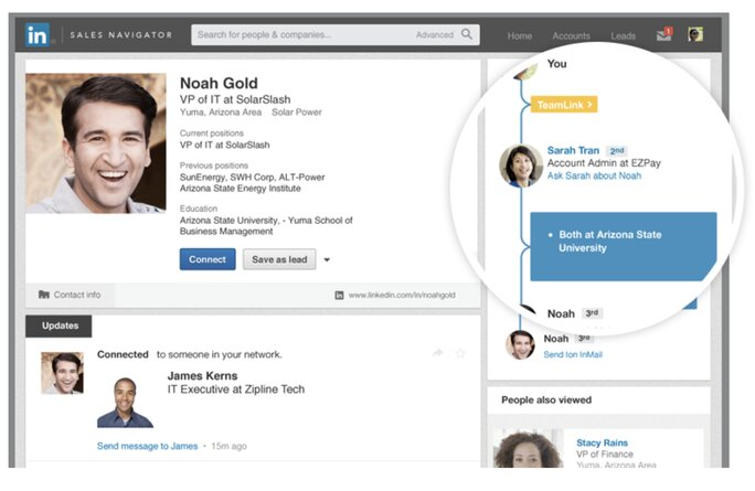 Linkedin shows mutual contacts