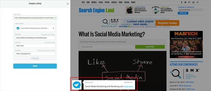 Shorten the URL and add call to Action