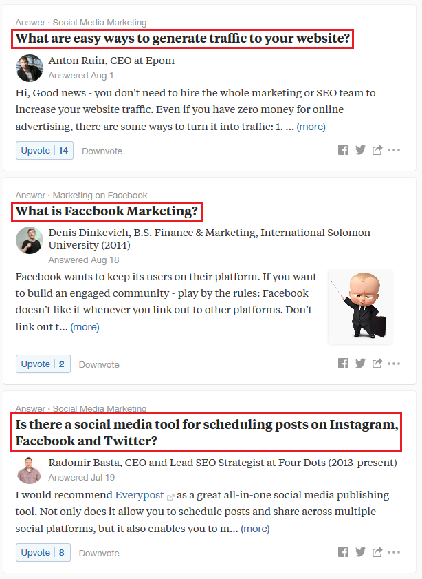 Queries on Quora that user put to discussion in Linkedin group