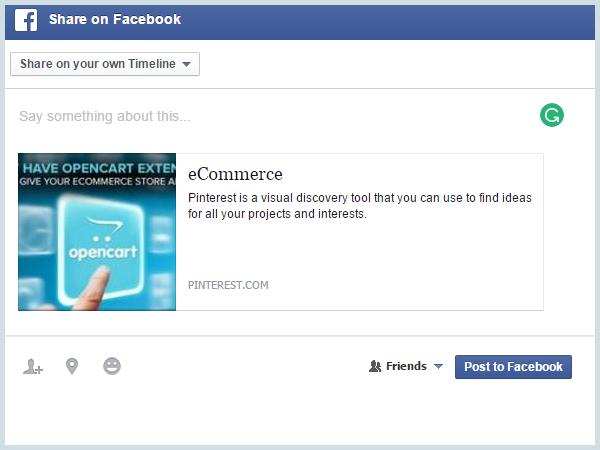 Add pins to Facebook