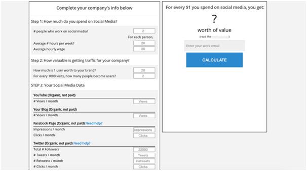 Social ROI calculator