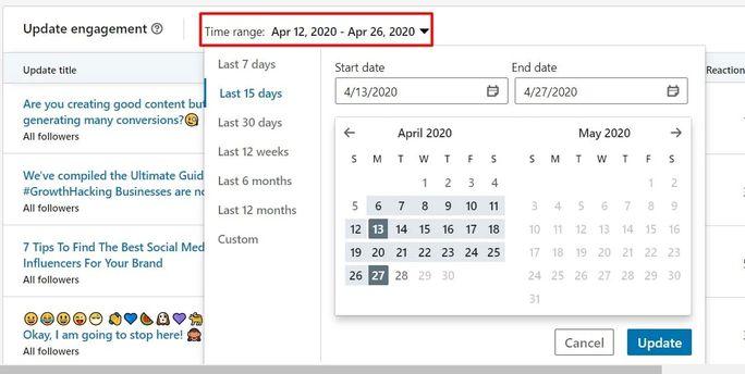 LinkedIn update engagement time range