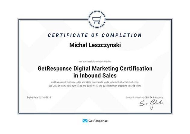 GetResponse Digital Marketing Certificate